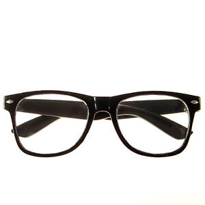 3ec75c67188 NEW BLACK FRAME RETRO Geek Nerd Non Prescription Clear Lens Eye ...