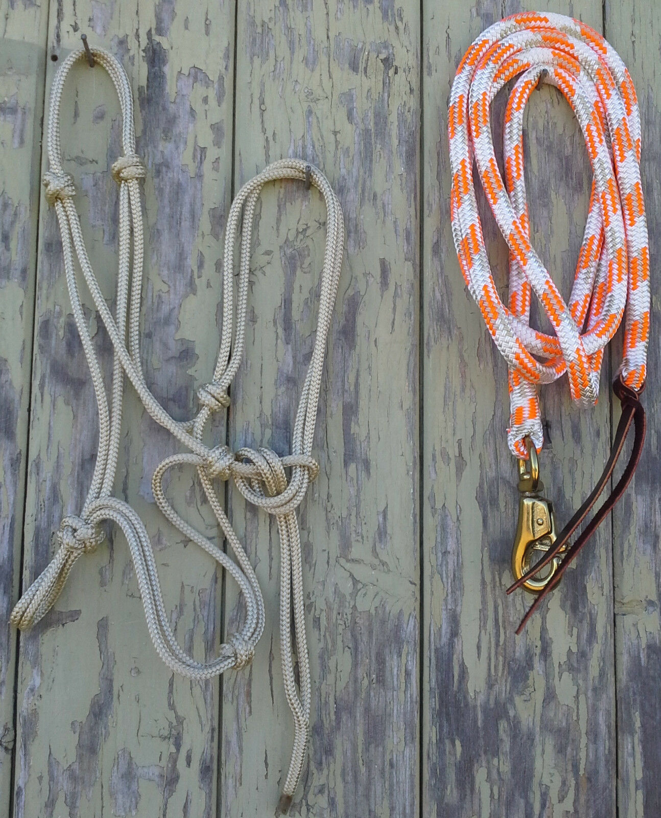 4 Knot Rope Halter & 14ft Lead Rope 12mm Rope w Brass Trigger Bull Snap orange