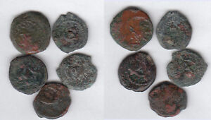 Judea-Lot-with-5-different-coins-different-rulers-AE-Prutah-stampsdealer