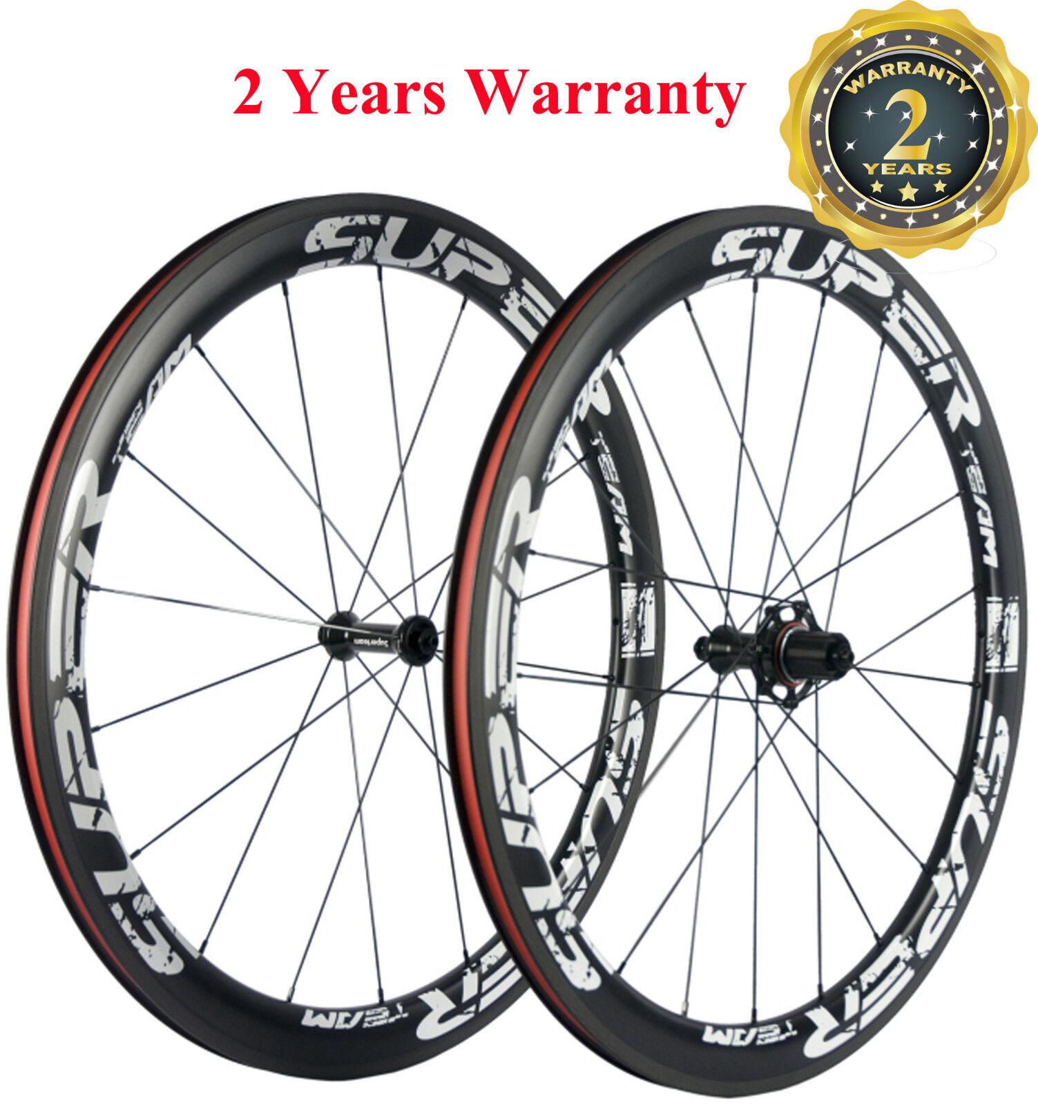 Superteam 700C 50mm Clincher  Bike Carbon Road Bicycle Wheels Carbon Wheelset  authentic quality