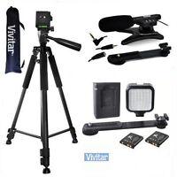 Vivitar Microphone + 36led Light +72 Tripod For Canon Eos Rebel 6d 7d 5d 80d