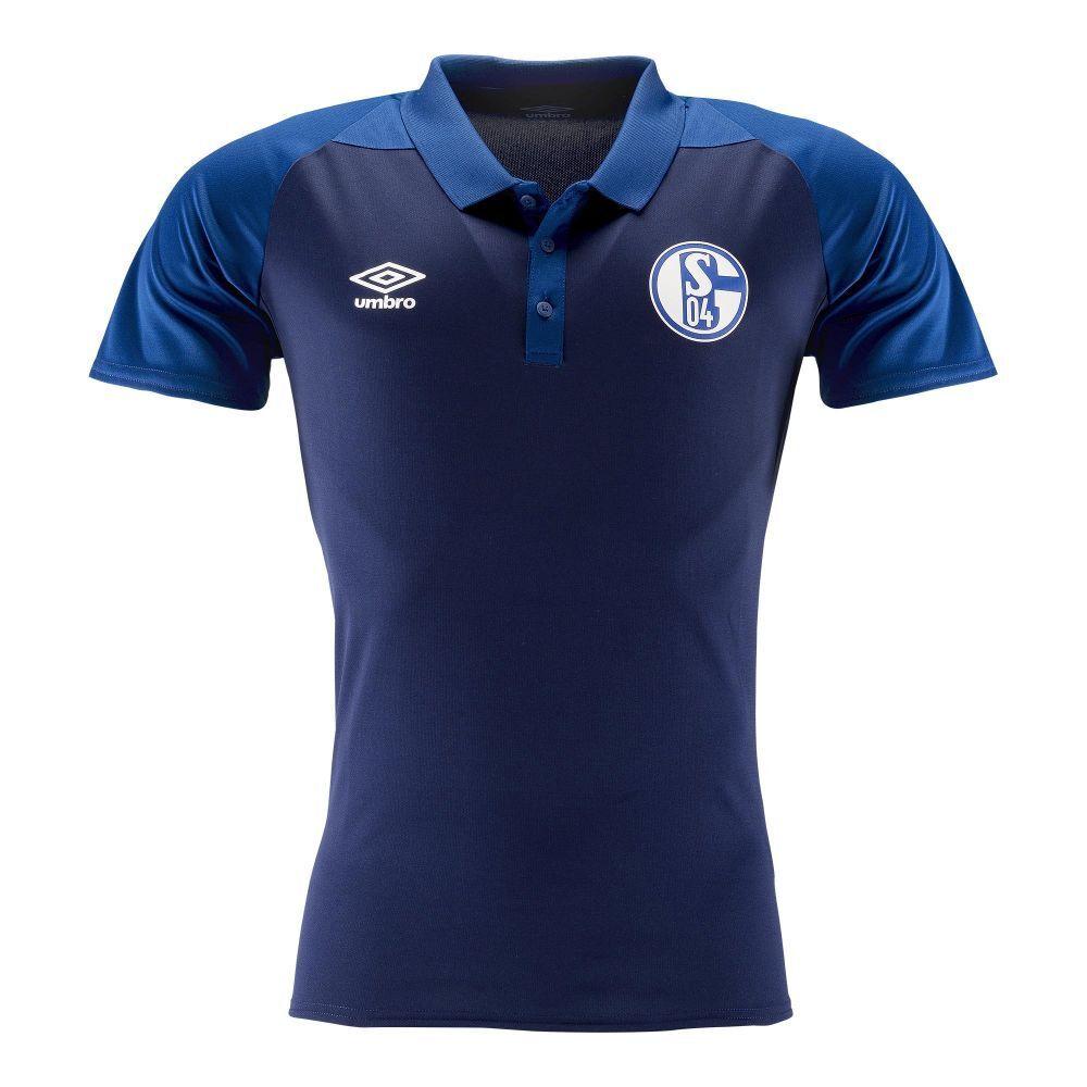 UMBRO Football Calcio FC Schalke 04 S04 Da Uomo Manica Corta Ss Polo Shirt Top