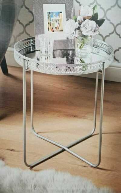 Kb 40cm Round Tray Side Table With, Coffee Table Tray Round White