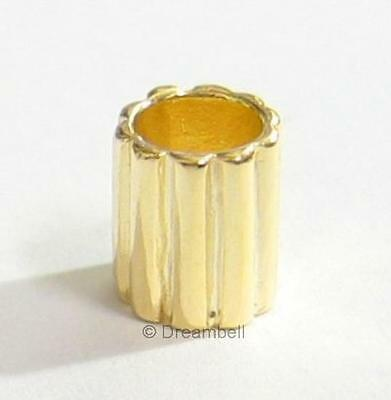 Gold Sterling Silver Round Tube European Bead Charm