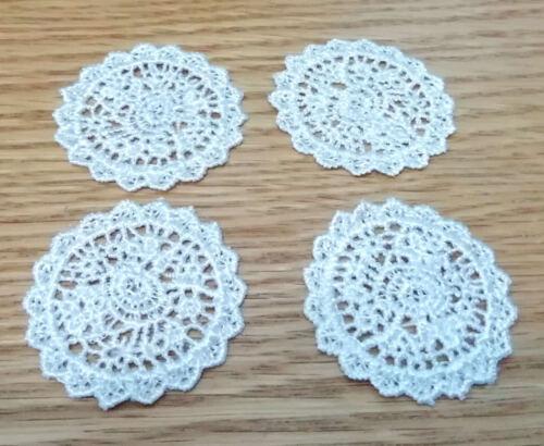4x real de material de Encaje Crochet Estilo Tapetes//Manteles Mesa de Casa de Muñecas lgw