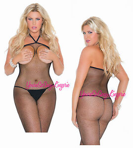 31640750df9 Image is loading Plus-Size-OPEN-CUP-Bodystocking-FISHNET-Thin-HALTER-