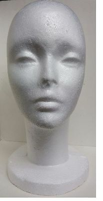 FOAM HEAD TALL FEMALE STYROFOAM MANNEQUIN WITH WIG HAT DISPLAY HOLDER