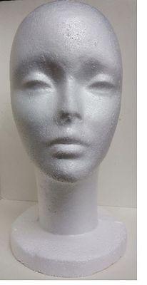 FOAM HEAD TALL FEMALE STYROFOAM MANNEQUIN WITH WIG HAT DISPLAY HOLDER