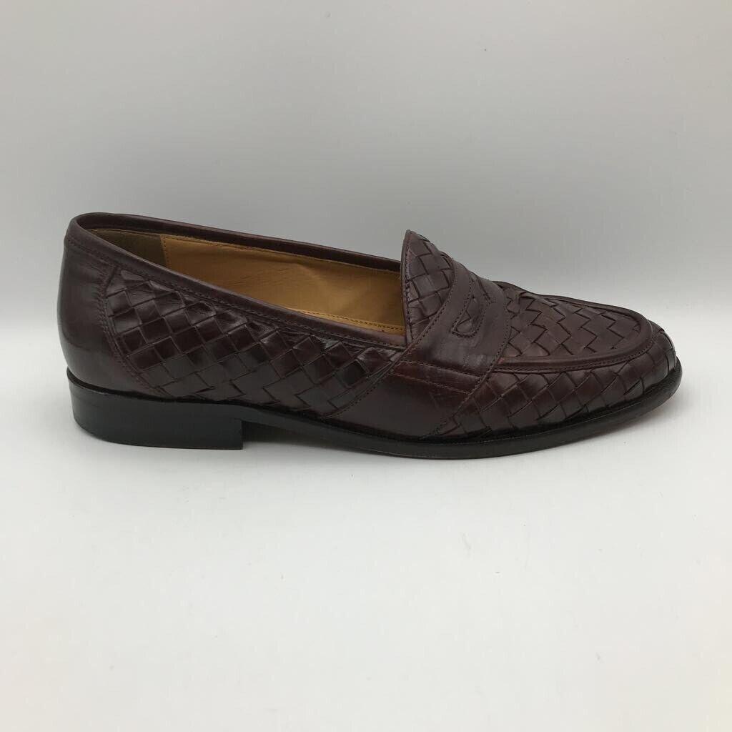 Johnston Murphy Mens Penny Loafer Dress Shoes Basketweave Burgundy Leather 8.5 M