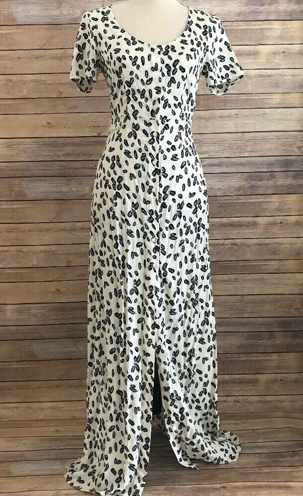 Renamed Womens Maxi Button Up Dress Leaf Design Size Small