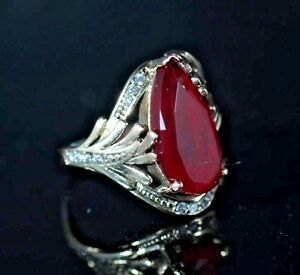 925-Sterling-Silver-Handmade-Antique-Turkish-Ruby-Ladies-Ring-Size-7-9