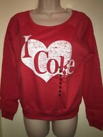 Jerry Leigh Juniors i Heart Coke Crewneck Sweatshirt Red/white Size M Tags