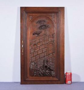 French-Antique-Deeply-Carved-Architectural-Panel-Door-Solid-Oak-w-Fox-and-Crow