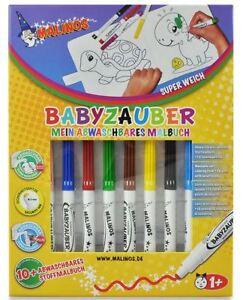 Malinos Babyzauber (ab 1 Jahr) 10 Malstifte mit abwaschbaren Malbuch NEU
