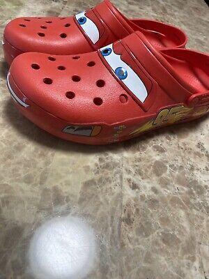 Size 12 Adults lightning mcqueen crocs