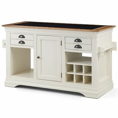 Palais cream painted furniture large granite top kitchen island unit worktop