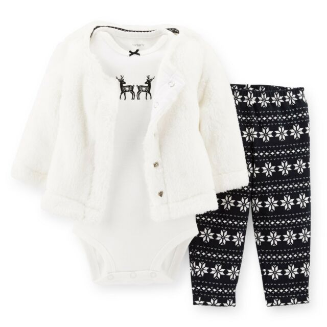 Carters Newborn 6 18 Months Faux Fur Cardigan Bodysuit Set Baby Girl Clothes