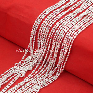Wholesale-Lots-5Pcs-925-Sterling-Solid-Silver-Bar-amp-Bead-Chain-Necklace-16-034-30-034