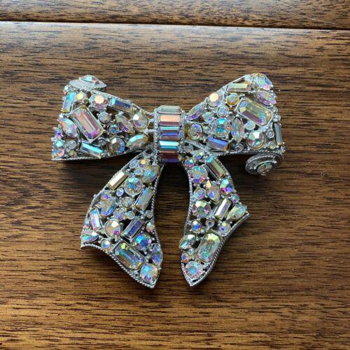 R. Serbin 1980s Vintage Custome Brooch Pin Crystal