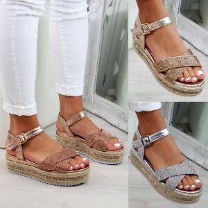 16b1737a288 Details about New Womens Platform Sandals Studs Espadrille Ankle Strap  Summer Shoes Sizes 3-8