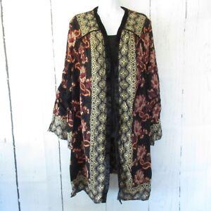 New Angie Kimono 2X Black Floral Boho Peasant Cardigan Plus Size Bell Sleeve