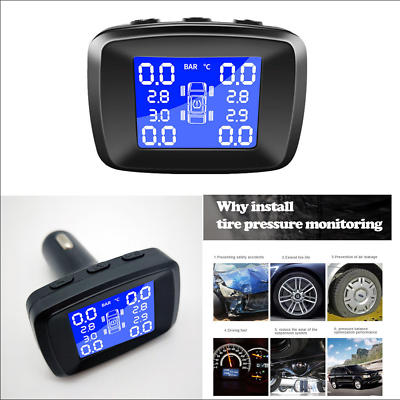 Real-time Display Tire Pressure and Temperature and 6 Alarm Function TBVECHI Wireless Tire Pressure Monitoring System TPMS Tire Pressure Monitoring System with 4 External Cap Sensors