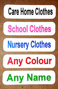 25 Printed Iron On Name Labels  Personalised School Clothes Uniform Tags BLACK