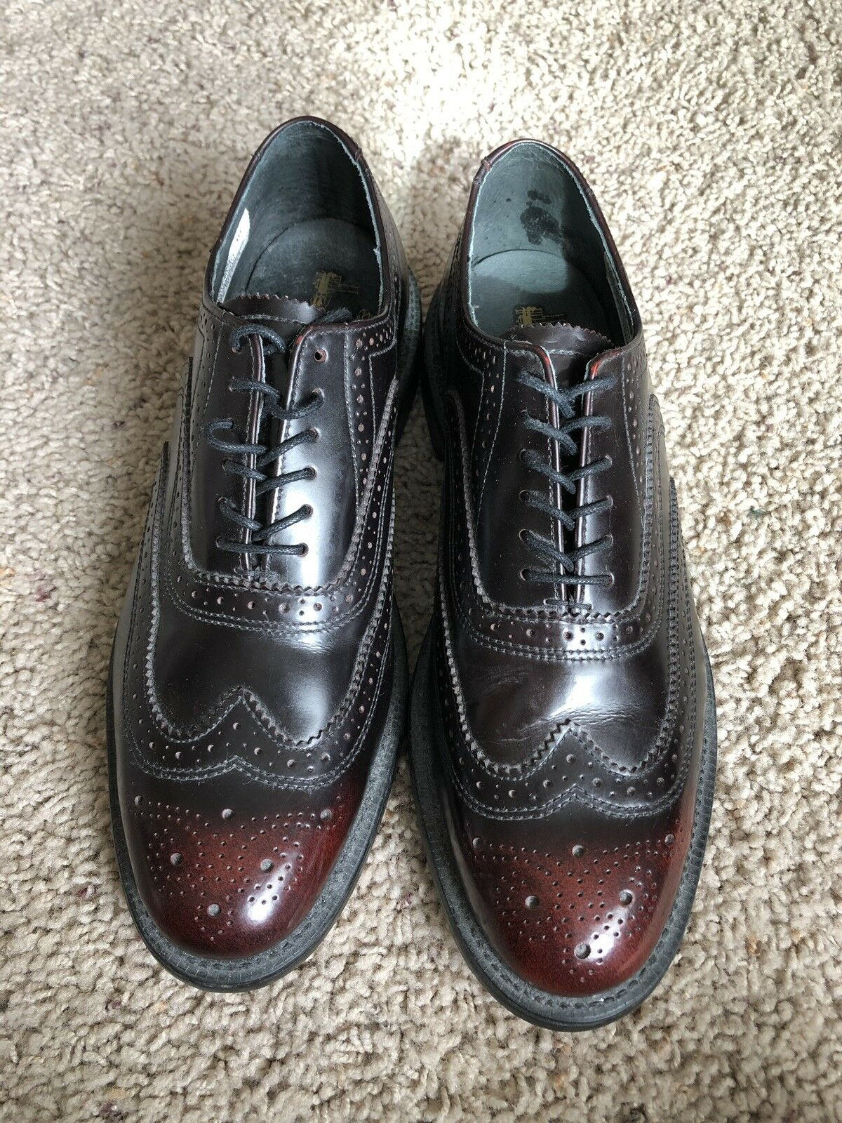 Executive Imperials Men's 10 D Dark Burgundy Leather Wingtips Lace Oxford shoes