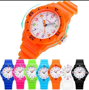 Children Kids Watches For Boys Girls Colour Analogue Sports Watch with Numbers