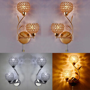 A-pair-of-Modern-chrome-crystal-glass-shade-double-head-bedside-Light-wall-lamp