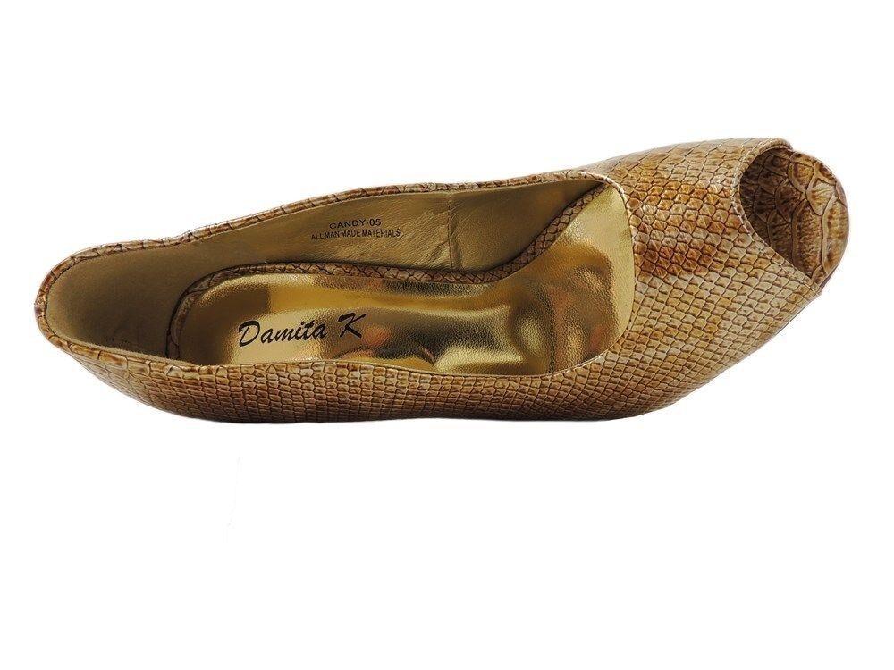 Damita K Women's Peep-Toe Peep-Toe Peep-Toe Evening Classic Pumps In gold Snake Size 7.5 c07b15