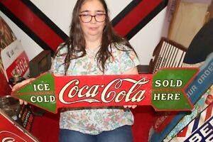 """Rare Vintage 1930 Coca Cola Ice Cold Sold Here Soda Pop 2 Sided 30"""" Metal Sign"""