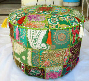 Indian-Green-Round-Ottoman-Pouf-Floor-Cushion-Cover-Handmade-Patchwork-Dorm-Home