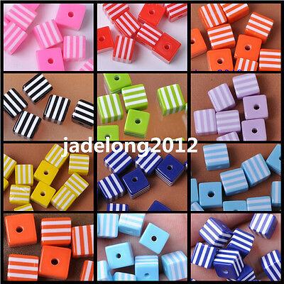 20pc/50pcs Stripes Acrylic Square Charm Loose Spacer Beads 8mm