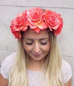 Grosse Orange Chaine Fleur Rose Bandeau Guirlande De Fleurs Cheveux
