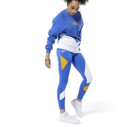 Reebok Classics Vector Leggings Damen Blau Weiß Enge Passform Sportkleidung Hose