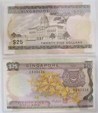 Rare Vintage $25 ORCHID SERIES A1 Twenty Five Dollars Singapore Old Bank Notes