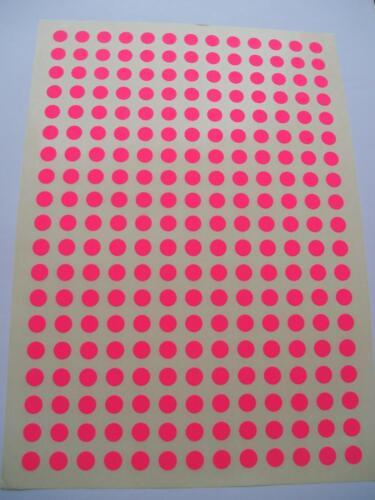 247  Markierungspunkte 10 mm Leuchtpink  RUND Klebepunkte Pink Papier