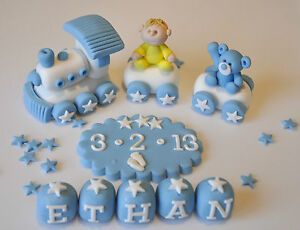 Image Is Loading Edible Christening Baby Train Teddy Decoration Birthday Cake