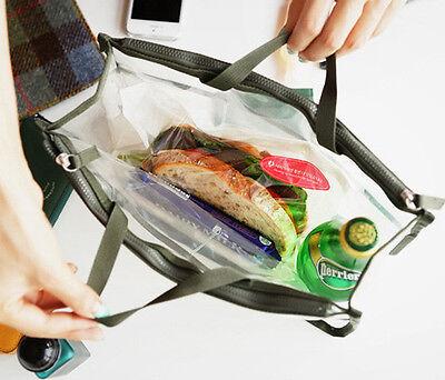 Women's Clear Dual Zipper Toiletry Cosmetics Bag Organizer Handbag Color Random