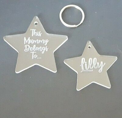 Personalised  Key Rings Laser Cut /& Engraved MDF Wood or Clear Acrylic