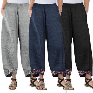 Femme-Pantalon-Floral-Decontracte-lache-Taille-elastique-Jambe-Large-Harem-Pants