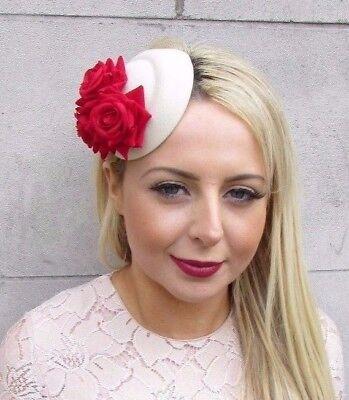 Black Red Rose Flower Pillbox Hat Fascinator Hair Clip Races Cocktail Vtg 4395