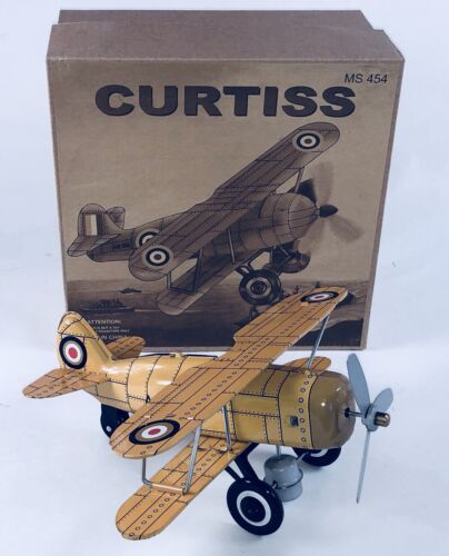 TIN TOY YELLOW  BI-PLANE WIND UP PLANE ROLLS & PROP SPINS GREAT COLLECTIBLE