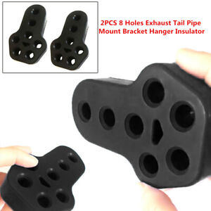 2x 11mm Car Rubber Exhaust Tail Pipe Mount Bracket Hanger Insulator 4Holes Solid