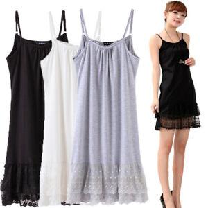Lady-Cotton-Full-Slip-Cami-Under-Dress-Long-Vest-Lace-Trim-Petticoat-Underskirt
