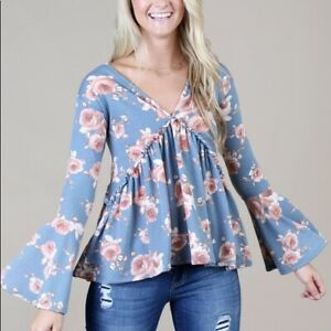 Anthropologie Blue Floral Lace Up Bell Sleeve Top Medium