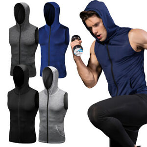Men-039-s-Workout-Tank-Top-Hooded-with-Pockets-Zip-Up-Vests-Sports-Gym-Top-Tight-fit