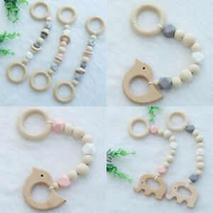 Beech-Wooden-Elephant-Bird-Baby-Teething-Silicone-Beads-Teether-Play-Gym-Toys