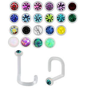 Nasenpiercing-Bio-Flex-Stecker-Nose-Stud-Nasenstecker-Kristall-Spirale-Nase